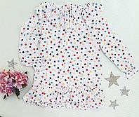 Детская блуза в горошек на девочку р. 116-128