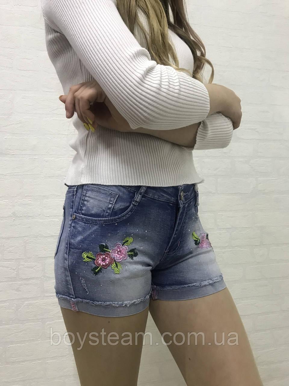 1862b6b751eb07 Джинсові шорти для дівчат з вишивкою квітів віком від 5 до 12 років (Польща)