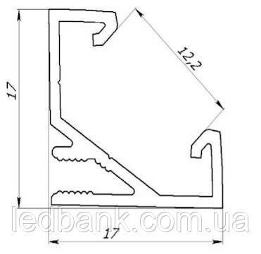 Алюминиевый профиль для светодиодной ленты угловой ЛПУ17