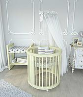 """Кроватка овальная трансформер Бук 12в1 """"слоновая кость"""" """"Baby-Sleep"""" + укачивание"""