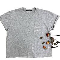 Базовая  футболка серого цвета с карманом на груди, фото 1