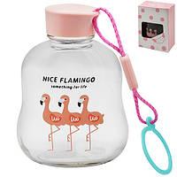 """Бутылка фигурная R84879 """"Фламинго"""" розовая крышка, стеклопластик, банка, кухонные аксессуары, пищевые контейнеры, емкость для хранения"""