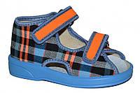 Детские летние сандалии для мальчика (Синие в клетку)