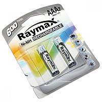 Аккумуляторные батарейки Raymax HR03 ААА, 600 mAh, 2 шт, Ni-MH, 1.2В, аккумуляторы 600mAh, аккумуляторы ААА