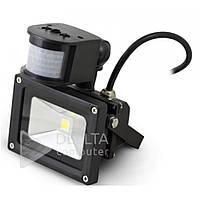 Прожектор светодиодный LED с датчиком FL-10W-S, 10W, 750 lm, 6400К, холодный белый, уличный прожектор