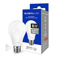 Светодиодная лампа Global E27 - 8w, 3000К, 700Lm, шар, матовая, Лампочка LED Global E27, Лампа LED, Лампочки, LED
