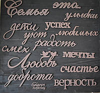 """Настінне панно з дерева """"Сім'я це з слів. Дерев'яні слова на стіну. Об'ємні слова з дерева"""
