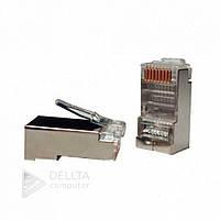 Разъем для обжима сетевого кабеля FTP Atcom RJ-45 FTP -8p8c, экранированный коннектор, витая пара, подключения в сетевую плату