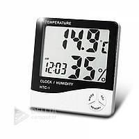 Комнатный измеритель температуры и влажности HTC-1, часы, календарь, 1.5В (размер ААА), 100х90х20 мм, белый, домашняя метеостанция