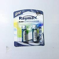 Аккумуляторные батарейки Raymax HR6- АА, 600 mAh, 2 шт, Ni-MH, 1.2В, аккумуляторы 600mAh, аккумуляторы АА