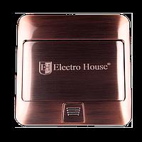 ElectroHouse Розетка врезная для пола с заземлением +2USB