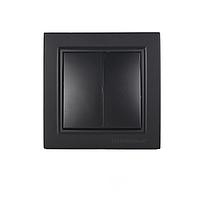 ElectroHouse Выключатель двойной Безупречный графит Enzo IP22