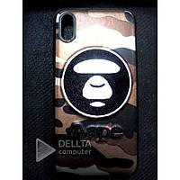 Бампер для IphoneX Aape обезьянка-хакки