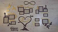 Большая семейная деревянная настенная композиция из рамок и слов. Композиция Семья это в два цвета на 14 фото