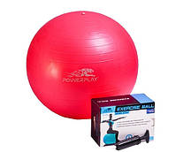 М'яч для фітнесу PowerPlay 4001 55см Розовий + насос