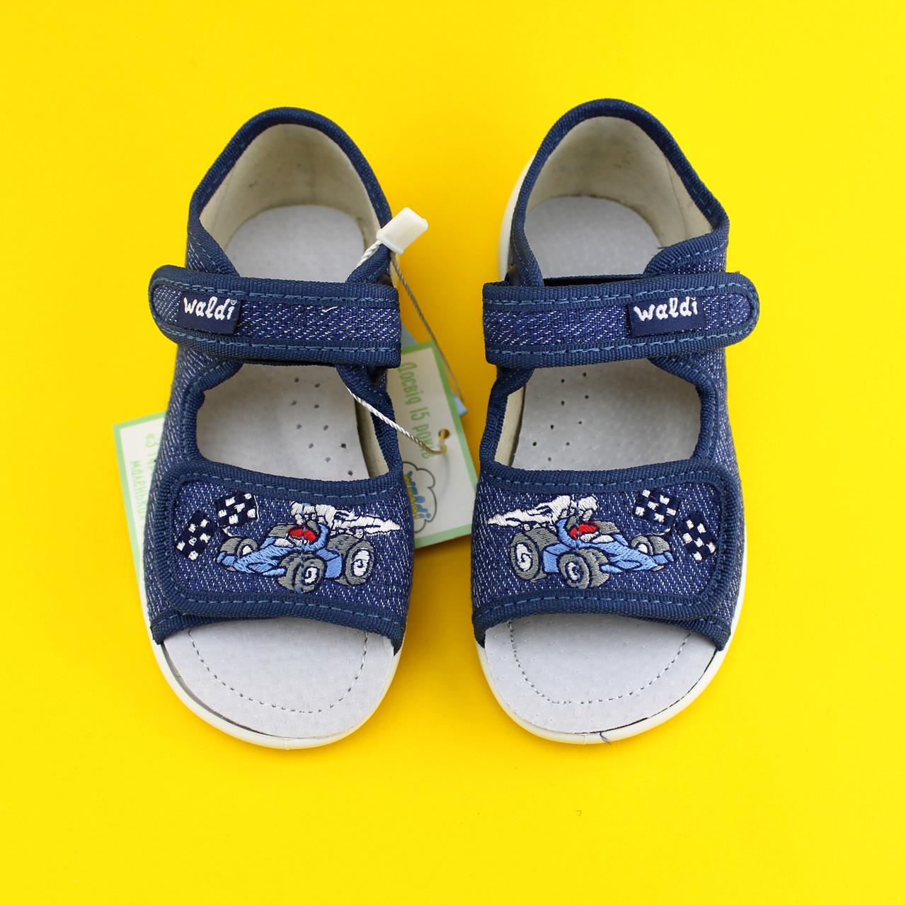 Текстильные босоножки на мальчика Waldi синие с машинкой р.25,29