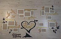 Большая семейная деревянная настенная композиция из рамок и слов. Композиция Семья это на 14 фото. в 4 цвета