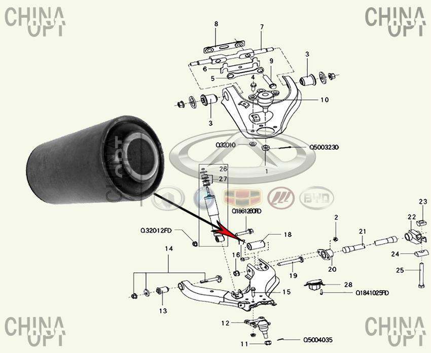 Сайлентблок нижнего переднего рычага задний, большой, Great Wall Hover [H2,2.4], 2904050-K00, VTR
