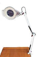 Лампа лупа на штативе настольное крепление с LED диодами ,регулировкой света , увеличение 5 диоптрий .