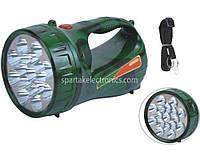 Фонарик ручной Yajia YJ 2803 зеленый, 17Led, аккумулятор, пластик, 2 режима максимальный и экономный режим, до 150 м