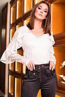 Блуза женская гипюровая белого цвета, блуза нарядная молодежная, блуза с рукавом красивая, блуза двойка с майк, фото 1