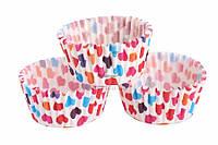 """(Цена за 1000шт) Декоративные формы """"Сердце"""" для украшения капкейков, , высота 3см, диаметр 6.5см, диаметр низ 5см, бумага, Форма для маффинов,"""