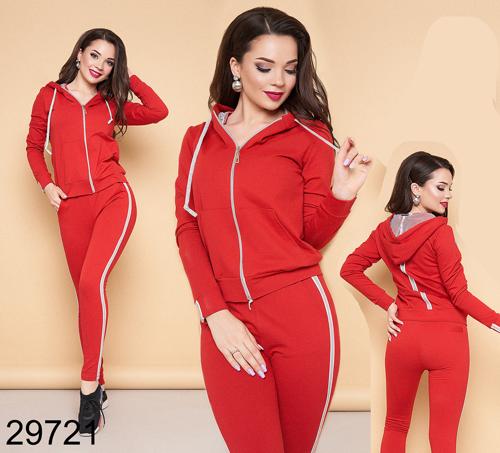 Женский спортивный костюм двойка с лампасами (красный) 829721