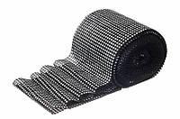 """Лента алмазная с имитацией камней декоративная """"Phlox"""", длина 9 м, ширина 12 см, цвет черный, лента для декора, лента из камней"""