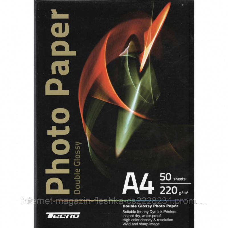 ФОТОБУМАГА TECNO A4 220G 50 P. DOUBL GLOSSY, PREMIUM PHOTO PAPER