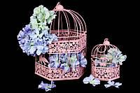 "(Цена за 6шт) Металлическая клетка ""Freesia"" для декора, розовая, 2шт, 32х22см,  28х20см, Декор металлический, Декоративная клетка"