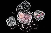 "Металлическая клетка ""Kohleria"" для декора, набор из 4шт, белая, 8.5х14х14.5см, 7х12х12см, 6х10х10см, 5х7х8см, Декор металлический, Декоративная"