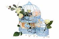 """(Цена за 6шт) Металлическая клетка """"Euryale"""" для декора, голубая, 2шт, 32х22см,  28х20см, Декор металлический, Декоративная клетка"""
