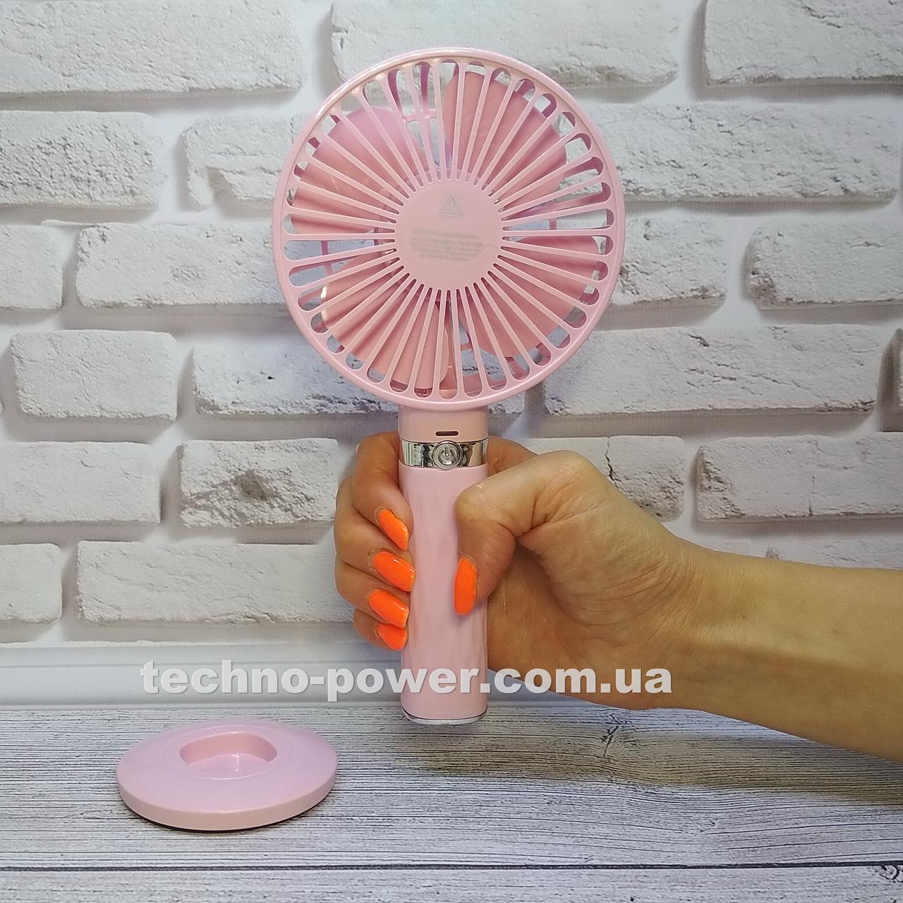 Портативный мини-вентилятор Handy Fan S8 Pink. Ручной вентилятор с аккумулятором S8 Розовый