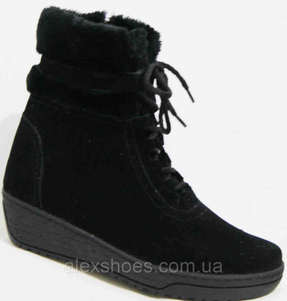 Ботинки женские зимние из натуральной замши большого размера от производителя модель В05980