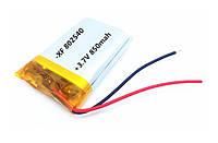 Акумулятор літій-полімерний 850mAh 3.7 V 802540, фото 1