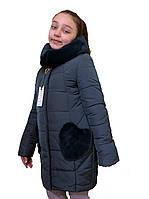 """Теплое зимнее пальто для девочки """"Сердечки"""" изумрудного цвета оптом и в розницу"""