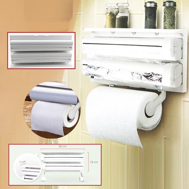 Кухонный диспенсер для пленки, фольги и полотенец Kitchen Roll Triple Paper Dispenser, держатель полотенец