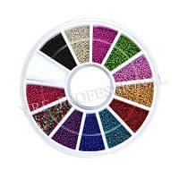 Бульон для дизайна ногтей YRE BVK-C, цветной пластиковый в каруселе, кол-во 12 шт, Бульоны, Бульонка, Дизайн, Материалы для дизайна ногтей