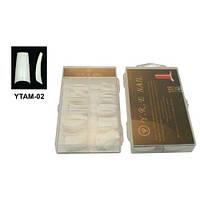 Типсы для наращивания ногтей YRE YTAM-02 белые (м/к), по 100 шт в уп, профессиональные типсы для наращивания, типсы для ногтей