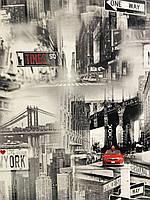 """Обои виниловые на флизелине, горячее тиснение, """"Newyork"""" для гостиной, кабинета, детской, холла 1,06*10"""