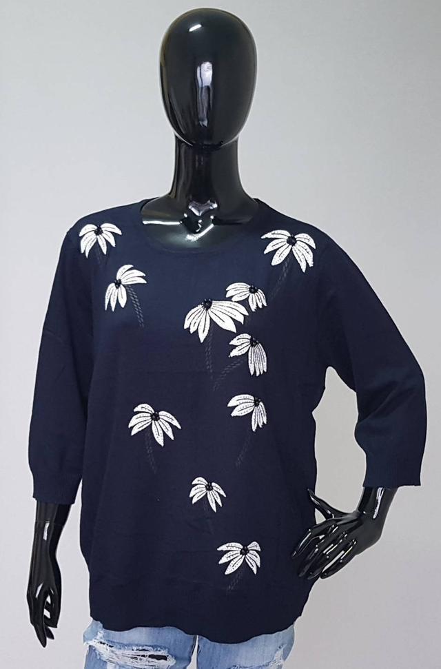 фотография женская синяя кофта с рукавами три четверти