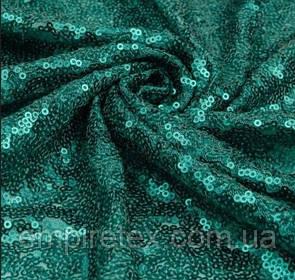 Пайеточная ткань густая Изумруд