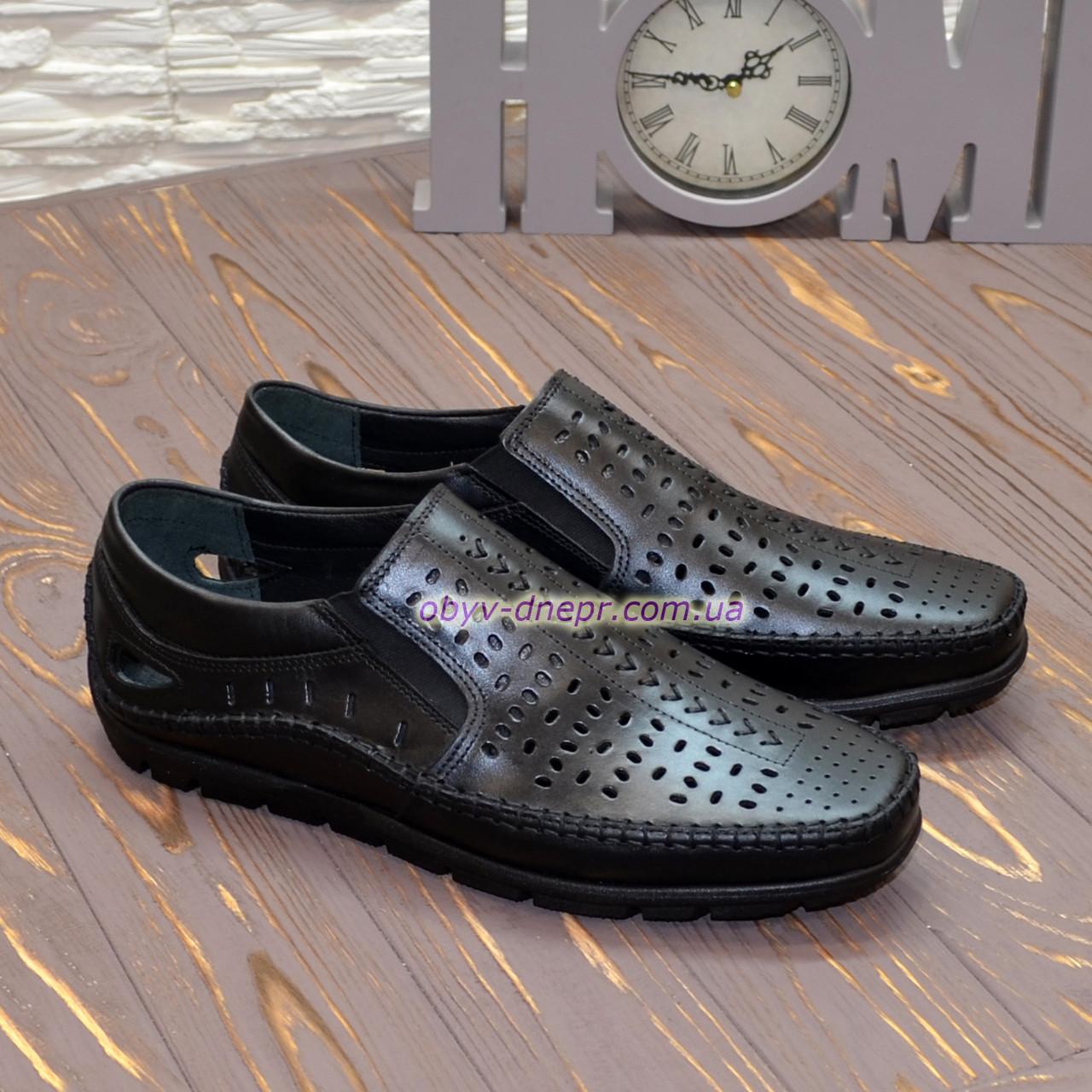 Туфли летние мужские черные кожаные.