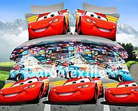 Детский комплект постельного белья Тачки 3Д полуторный, ранфорс 100% хлопок. (арт.3107)