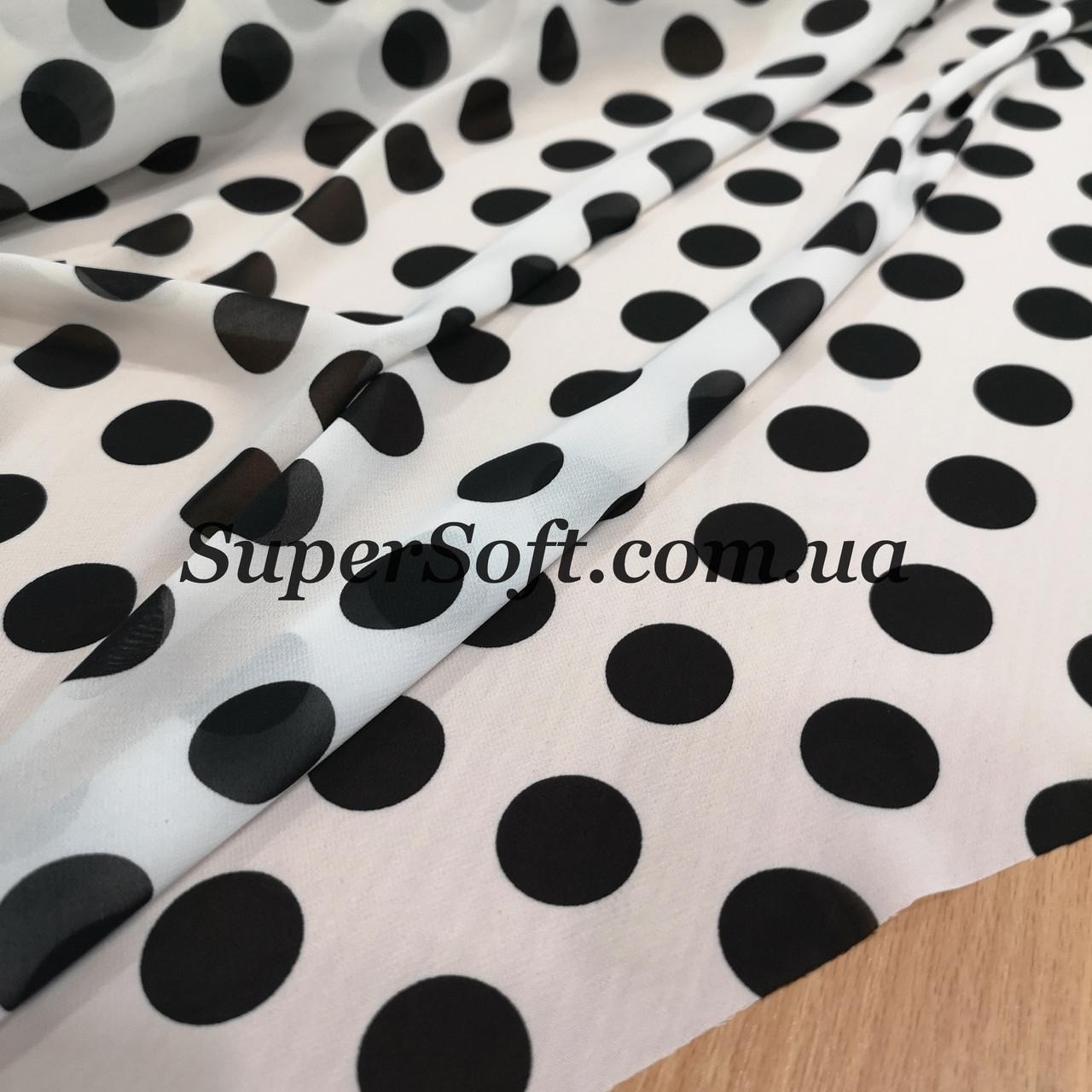 Ткань шифон принт крупный горох черный на белом