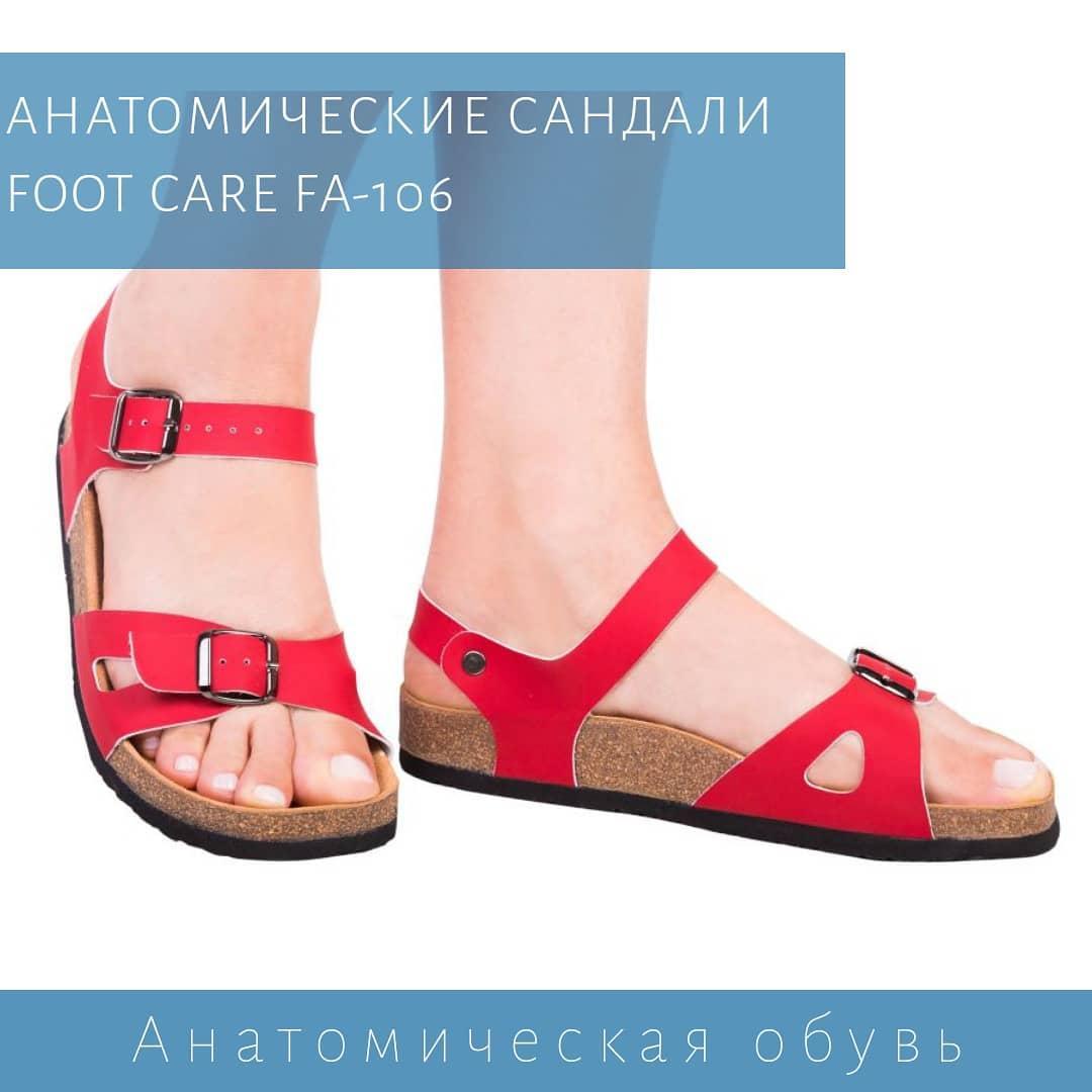 Анатомические женские сандалии FA-106, красные