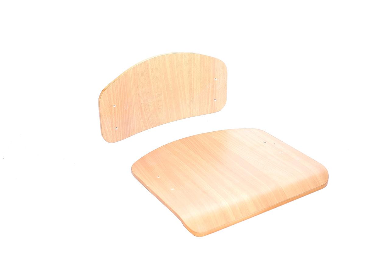 Комплект спинки (330х160мм) и сидения (320х330)  гнутоклееные №4, лак (без сверления) для школы