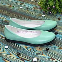 Туфли  женские мятные кожаные на утолщенной подошве