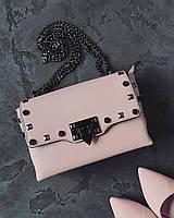 Женская кожаная сумка клатч Italian bags  , кожаные сумки пудра клатч Италия
