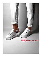 Женские кожанные белые кроссовки без задника  36,37,39,40 размер